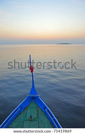 boat in sunset - Maldive - stock photo