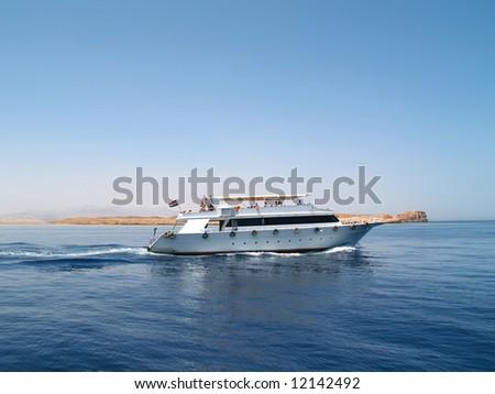 Boat in the ocean - stock photo