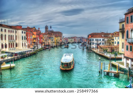 boat in Venice Grand Canal, Italy. Processed for hdr tone mapping effect - stock photo