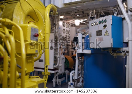 Boat interior with control panel instruments - stock photo