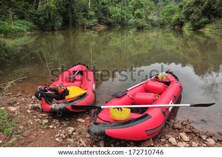 Boat landing on the shore, north of Laos - stock photo