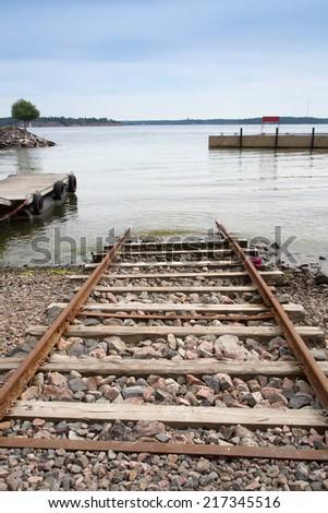 boat launching ramp, vertical - stock photo