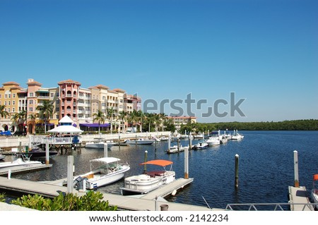 Boat marina and waterfront in Naples, Florida - stock photo