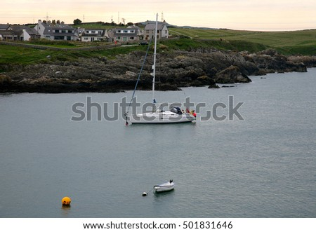 Boat moored up at Cemaes, Isle of Anglesey, North Wales, United Kingdom