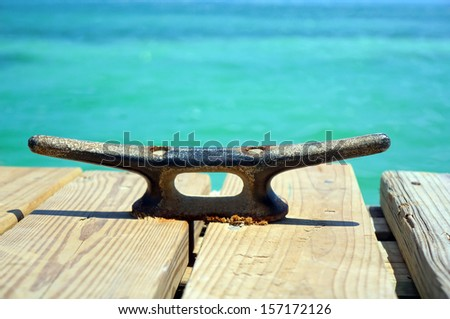 Boat mooring cleat             - stock photo