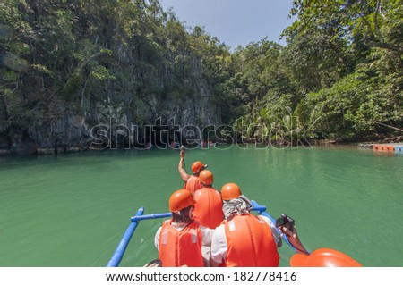 Boat near Subterranean River. Puerto Princesa, Philippines - stock photo