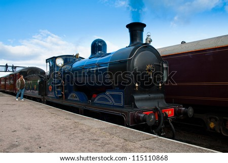 BOAT OF GARTEN, SCOTLAND - OCT 7: Caley 828, the world's only surviving Caledonian Railway's  0-6-0 tender locomotive on October 7, 2012 in Boat Of Garten, Scotland