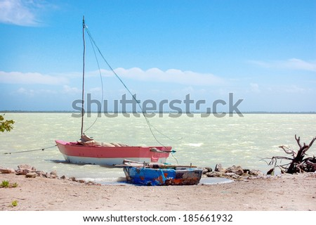 Boat on a lake in tropical Dominicana