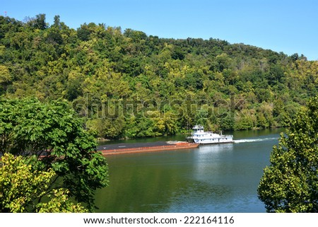Boat on a river - stock photo