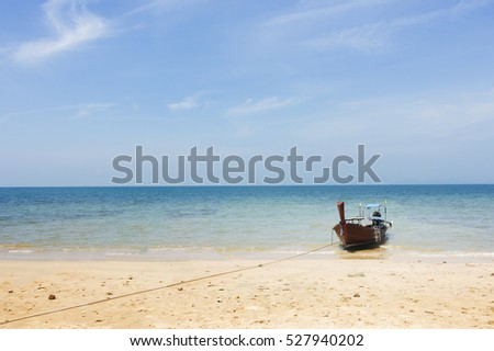 Boat On Beautiful Tropical Sand Beach, Thailand