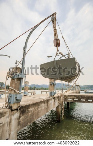boat on davits - stock photo