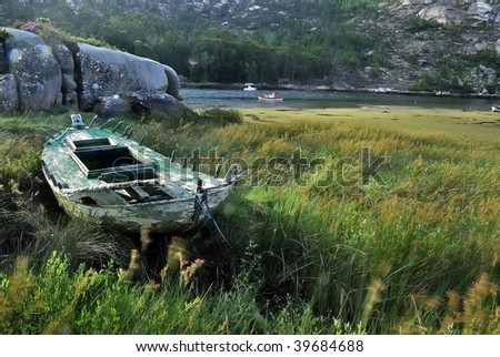 Boat on green - stock photo