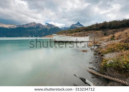 Boat on Lago Argentino. Los Glaciares National Park, El Calafate, Patagonia Argentina - stock photo
