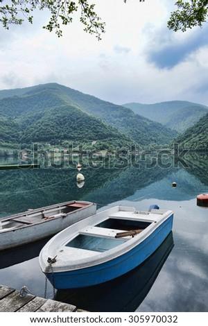 Boat on lake - stock photo