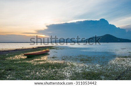 Boat on lake background