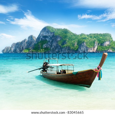 boat on Phi Phi island Thailand - stock photo