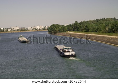 boat on rhine, germany/france