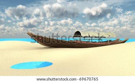 boat on sand bank - stock photo