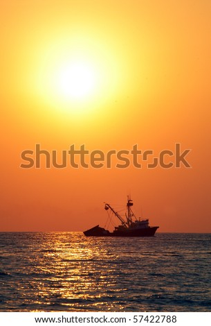 Boat on sea during sunset, Puerto Escondido, Mexico