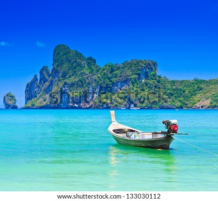 Boat on sea Phi Phi island Thailand - stock photo