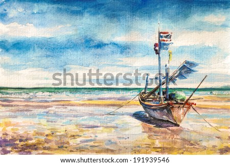 Boat on the beach. Thailand.Picture created with watercolors. - stock photo