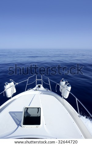 Boat on the blue Mediterranean Sea yachting on a calm ocean - stock photo