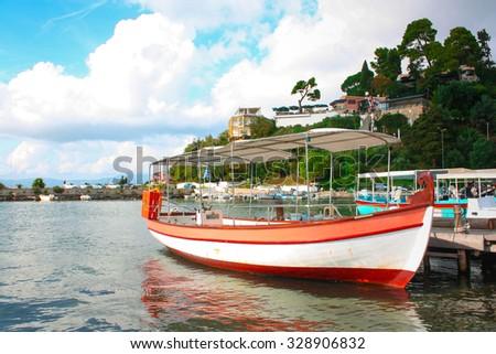 Boat on the island of Corfu, Greece. - stock photo