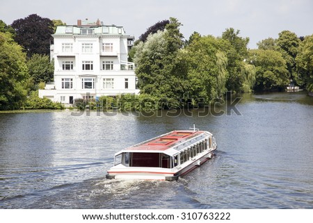 Boat on the river Alster in Hamburg, Germany