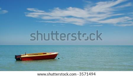 Boat on the sea, panorama - stock photo