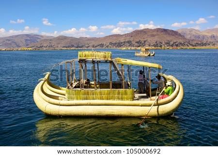boat on Uro Island, Puno, Peru - stock photo