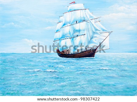 Boat painting on the ocean of oil painting - stock photo
