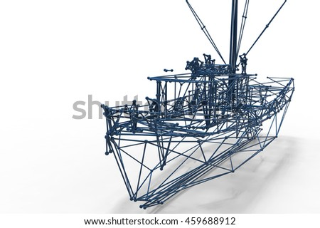boat  polygonal structure and wire frame lattice mesh.  3d render illustration