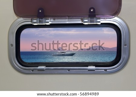 Boat porthole sunset view red blue ocean sea magic light [Photo Illustration] - stock photo