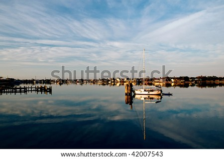 Boat Reflection - stock photo