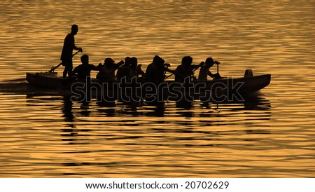 Boat Regatta Silhouette - stock photo