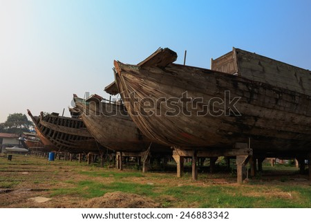 boat Repair old - stock photo