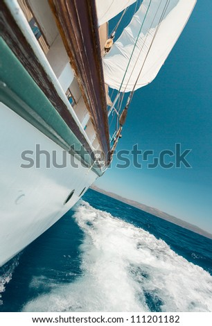 Boat sailing in Aegaean Sea Turkey