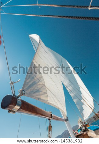 Boat sailing in Aegean Sea - stock photo