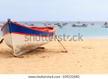 boat sal santa maria cape verde - stock photo