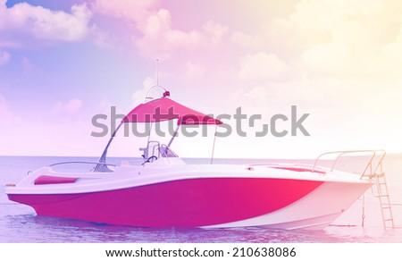 boat sea blue sky vintage photo retro style - stock photo