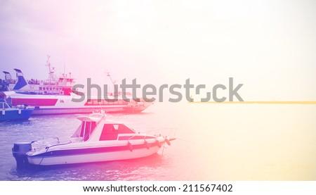boat sea vintage photo retro style - stock photo