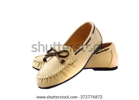 boat shoes on white background - stock photo
