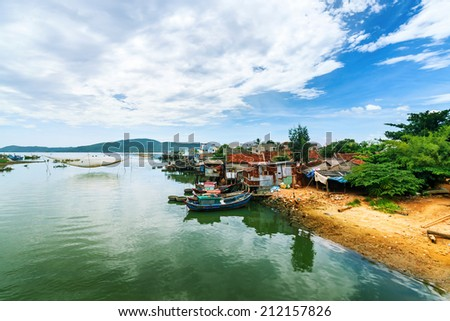 Boat stop on the river - stock photo