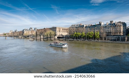 Boat tour on Seine river in Paris, France - stock photo