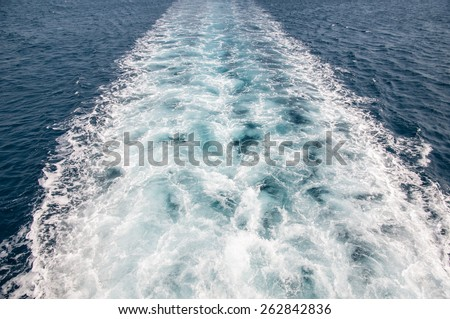 Boat trail in the sea- back side  - stock photo