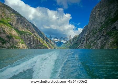 Boat trip on Lysefjorden - stock photo