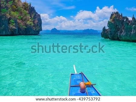 Boat trip to blue lagoon, El Nido, Palawan, Philippines - stock photo