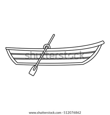 Boat with paddle icon. Outline illustration of boat with paddle  icon for web