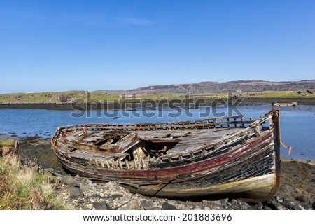 Boat wreck - Croig - Isle of Mull - Inner Hebrides of Scotland - stock photo