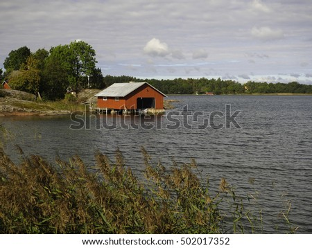 Boathouse at the Aland Island in the baltic sea